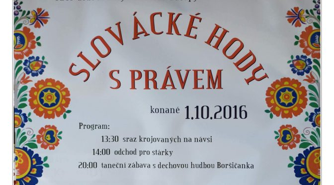 Slovácké hody s právem 1. a 2.října 2016